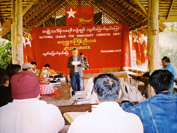 Dr Tint Swe speaks during the 4th Conference of National League for Democracy (Liberated Area) in December 2003.