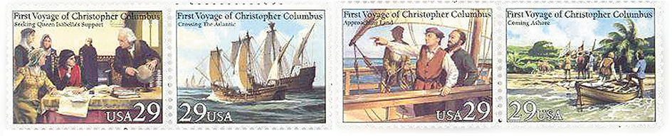 US Official postal stamps on the voyage of Christopher Columbus