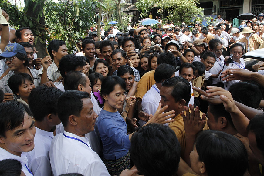 Winds of Change: Nobel Peace Prize Laureate Aung Saung Suu Kyi with her supporters at Bago region of Burma in August 2011 during her first trip since being released from house arrest. (Photo: Htoo Tay Zar of Open Myanmar Photo Project)