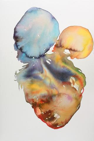 Francis Bacon met gele en blauwe schedel