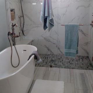 Transitional Bath with Freestanding tub