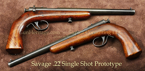 Factory prototype wood grip Savage .22 caliber single-shot pistol