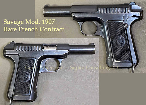 Rare French Military Contract Prototype Savage Model 1907 Pistol