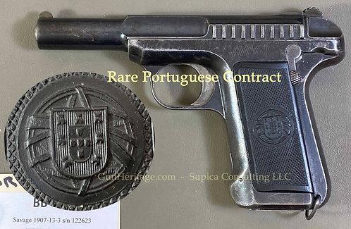 Rare Portuguese contract Savage Model 1907 pistol with box
