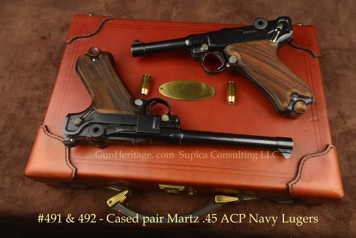 491&492 – Cased pair of Martz custom .45 ACP Navy Lugers$20,000 pair