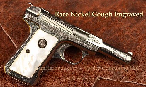 Gough engraved nickel Savage 1907 pistol.