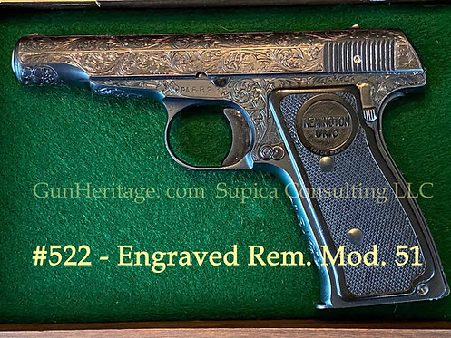 Engraved and gold washed Remington Model 51 pistol