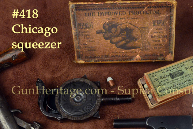 418 – Chicago palm pistol, rare blued, with original picture box$5,500