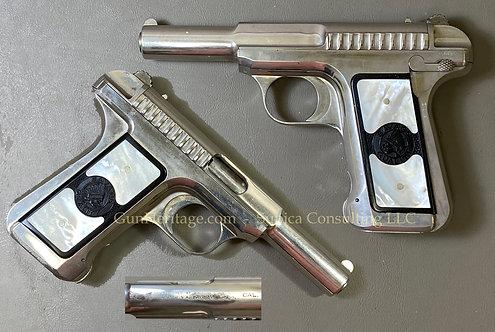 "Extremely rare ""Tuxedo Grips"" on rare nickel finish Savage Model 1907 Pistol"