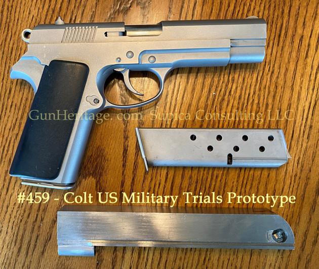 459 – Colt US Military prototype 9mm pistol$15,000