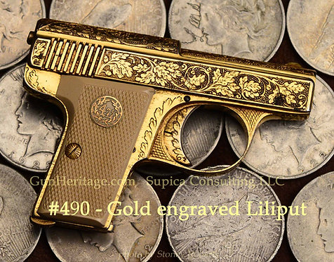 Gold engraved Liliput Model 1927 4.25 mm pistol