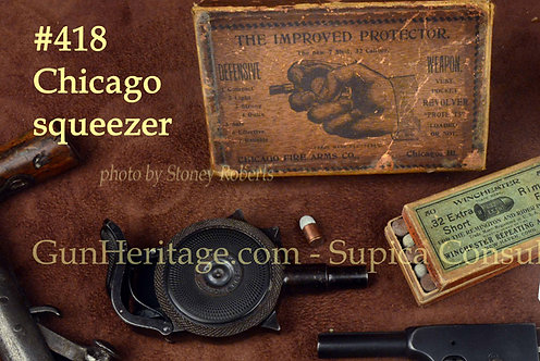 Rare blue Chicago Firearms Co. Protector Palm Pistol in box with ammo.