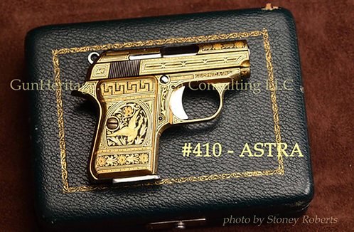 Ornate gold damascene and engraved Astra Model 2000 Cub