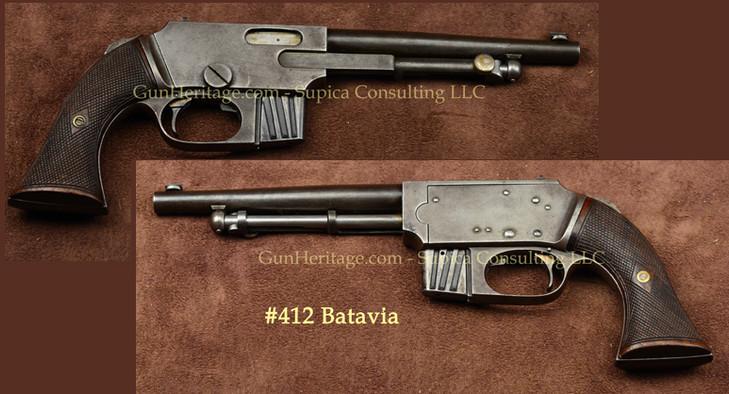 412 – Batavia pistol, possible prototype, Model No. 1$5,750