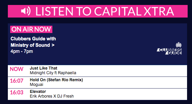 Capital XTRA Ministry Of Sound 'Clubbers Guide' Midnight City Feat. Raphaella 'Just Like