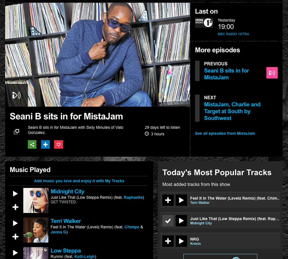 1Xtra Seani B support for the Low Steppa Remix of Midnight City Feat. Raphaella 'Just Like That&