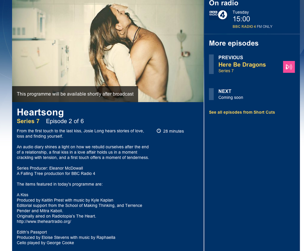 A Roundhouse Collaboration: Edith's Passport - BBC Radio 4 Short Cuts - Heartsong 14.04.15 3pm