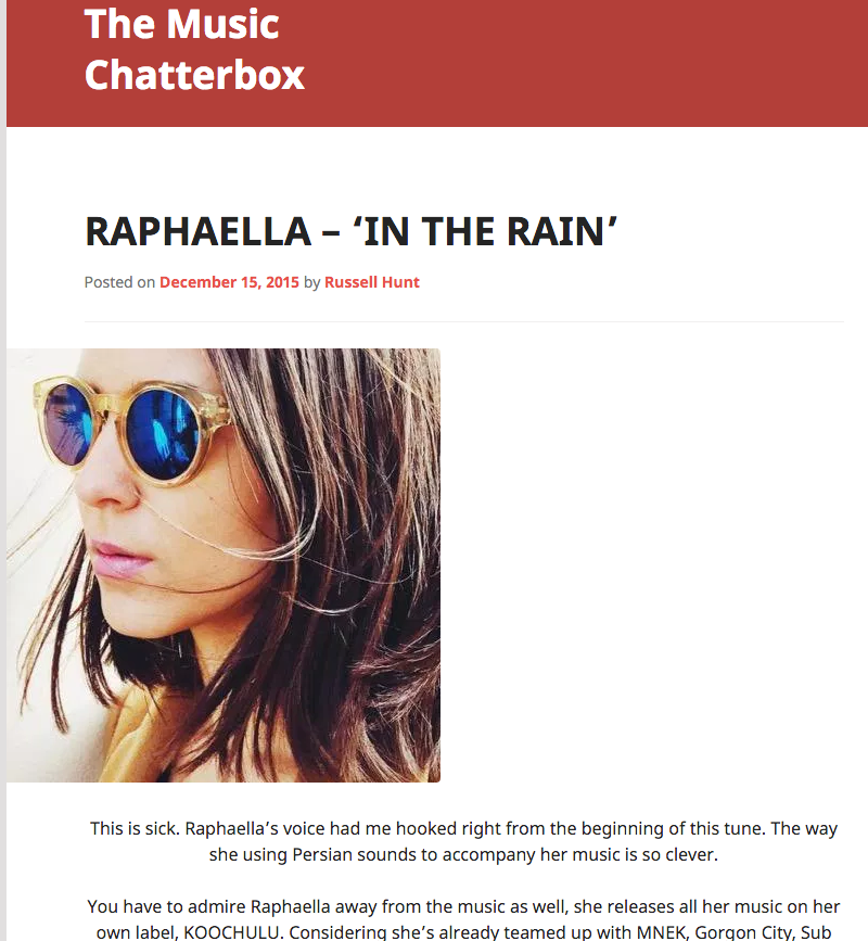 The Music Chatterbox: Review In The Rain