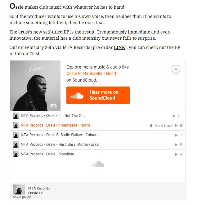Clash Music Premiere: Ossie Feat. Raphaella 'North' OSSIE EP MTA