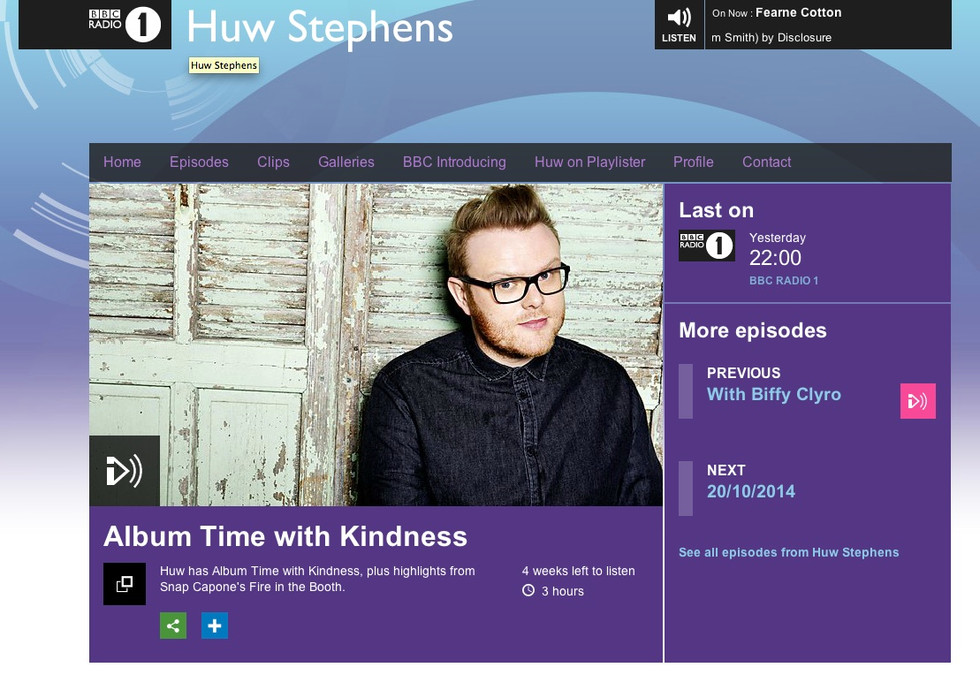 BBC Radio 1's Huw Stephens gave Raphaella's single 'Parallel Lines' a play on his show, a big thanks