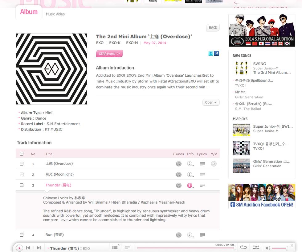 K-Pop EXO K & EXO M Release 'Thunder' on Mini Album Overdose with an incredible 700,000+ pre-order s