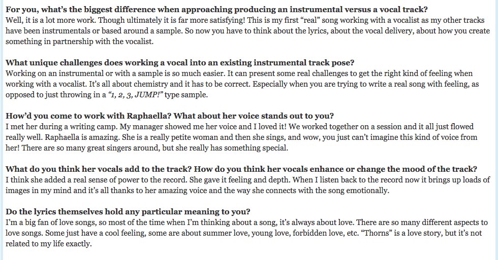 1001 Tracklists Interview Michael Calfan talking about Raphaella & the making of THORNS