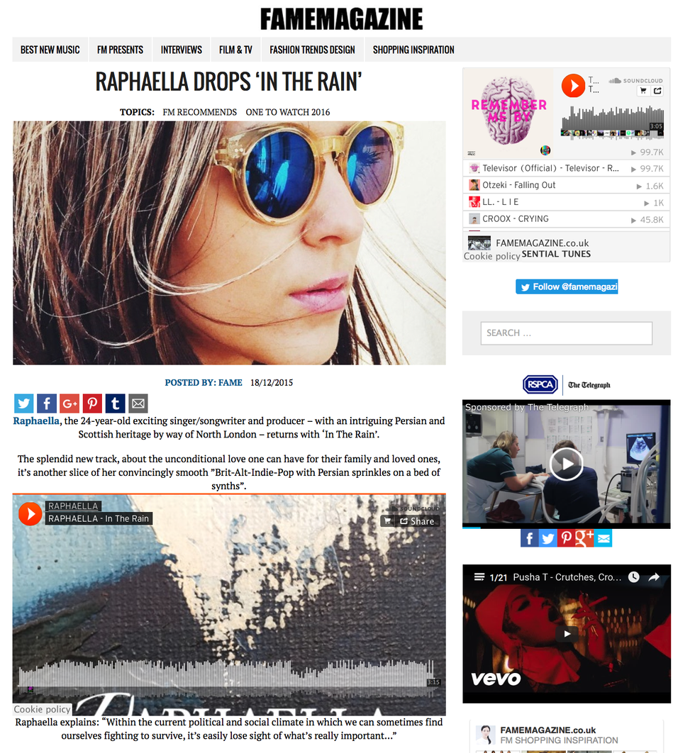Fame Magazine: Review In The Rain