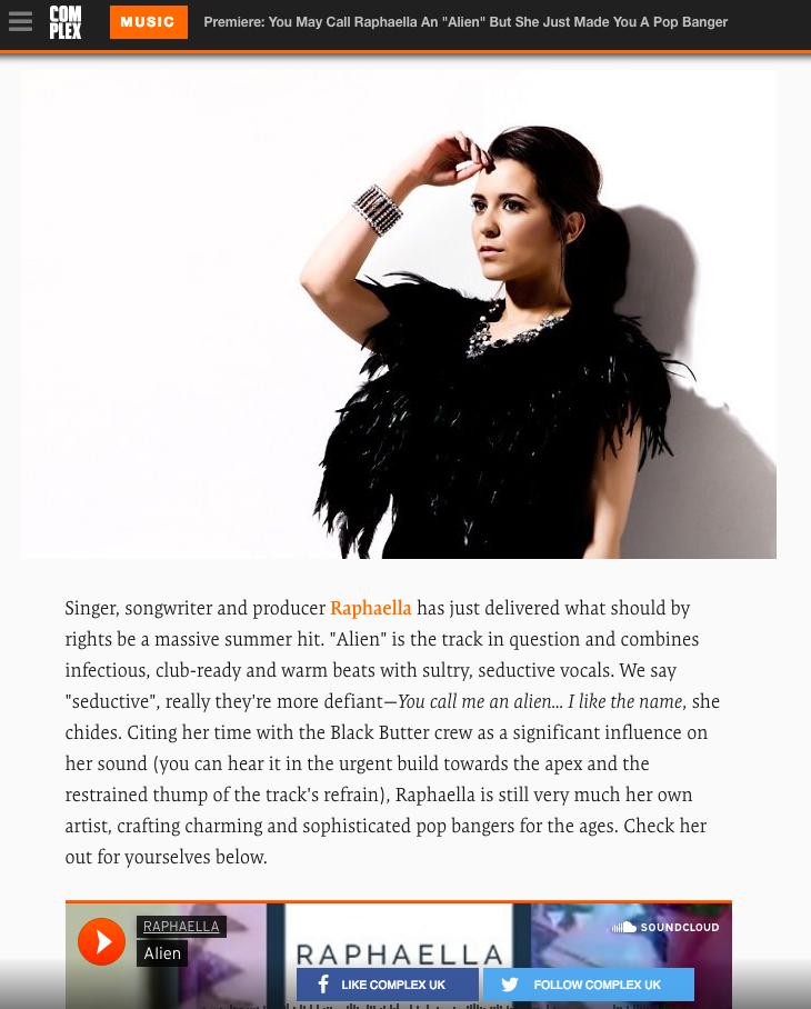COMPLEX Premiere Raphaella's single ALIEN