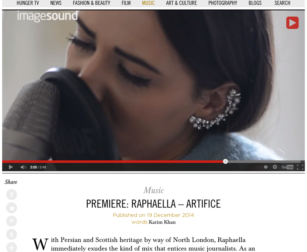 Hunger Magazine Premiere  - RAPHAELLA - a mesmerising cover of SOHN's 'Artifice' [Imagesound Session