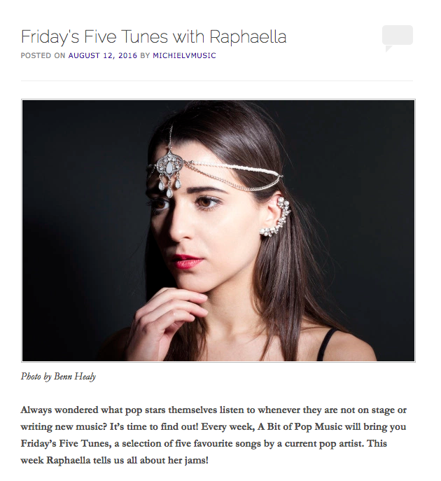 A Bit Of Pop Music Friday's Five Tunes with Raphaella