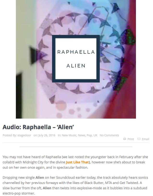 STAGE DOOR FM Review: Raphaella - ALIEN