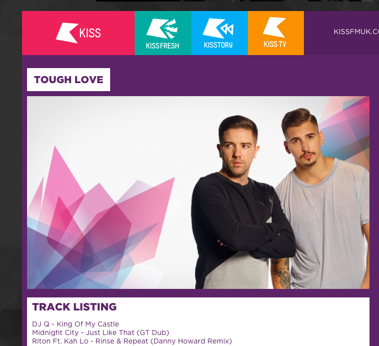 'Just Like That' Get Twisted DUB in Kiss Fm's Tough Love Mix