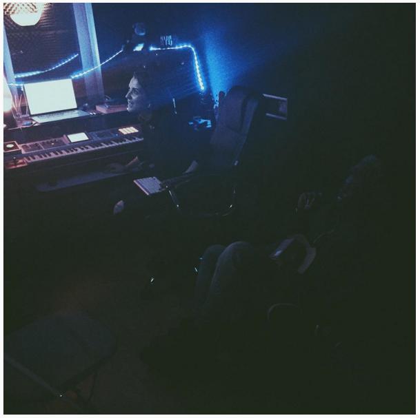 Raphaella in the studio with Maestro The Baker and Valentino