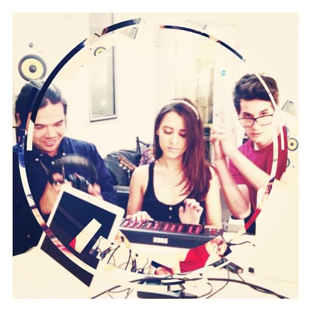 Raphaella in the Phrased Differently studios writing with LA's Ben Ezaki & Colin Holbrook aka Come A