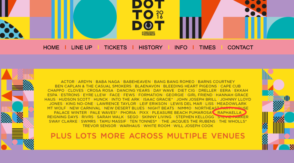 RAPHAELLA at Dot 2 Dot Festival 27th to 28th May Manchester - Bristol - Nottingham