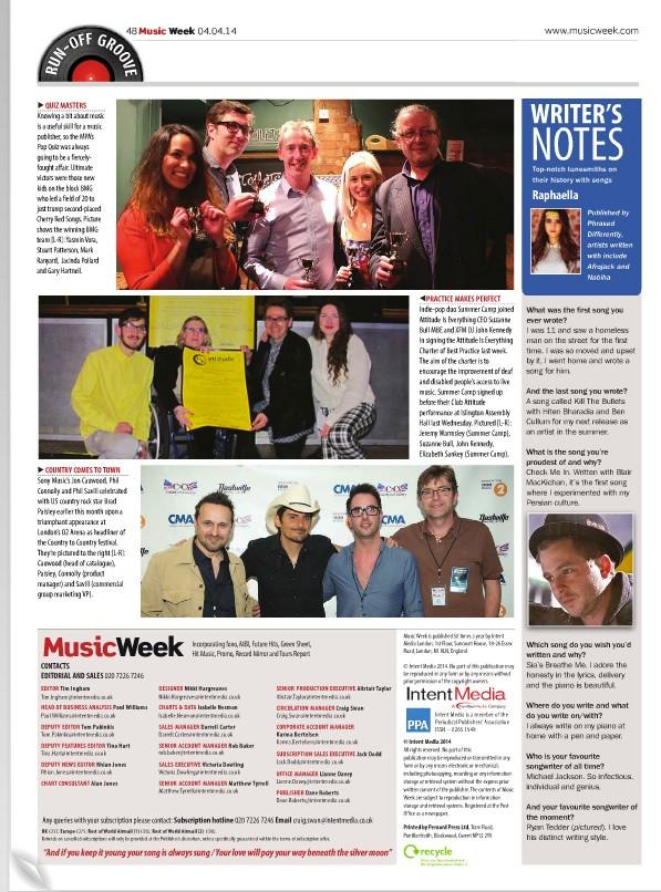 Music Week - Writers Notes Raphaella