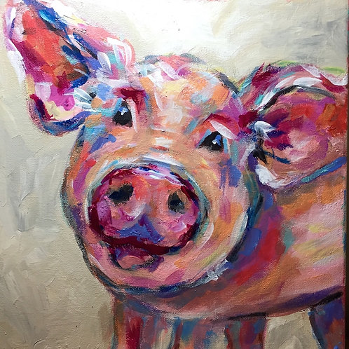 Happy Pig Giclee Canvas