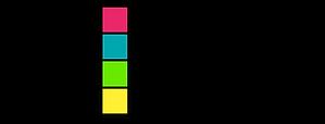 Logo mit vier bunten aufeinander geschichteten Quadraten die zwischen fünf unterschiedlich langen Notenlinien liegen