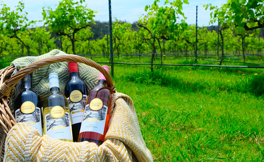 Breakfast Creek Vineyard Wine in Basket