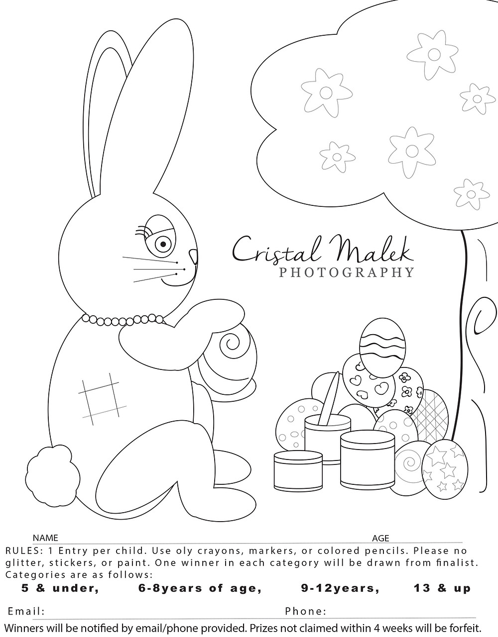 easter bunny coloring contest page