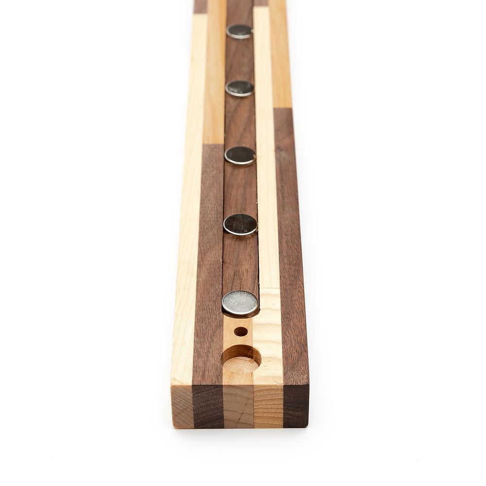 Wooden magnetic knife holder for fridge