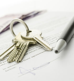 Keys of a new house on a signed contract