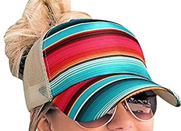 Womens serape striped criss cross hat