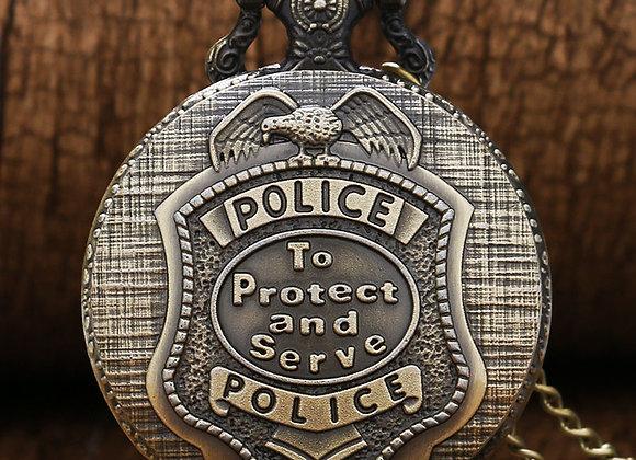 Antique Bronze US Police Design Quartz Pocket Watch With Necklace Chain