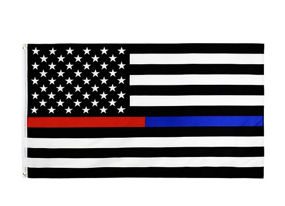 3'x5' Fly Breeze Thin Blue Line and Red Line  Polyester Flag