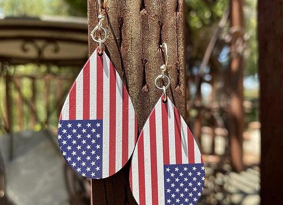 American Flag Drop Earrings #T178