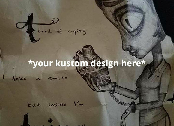 Kustom hand drawn art in black ball point pen