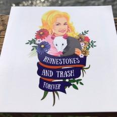 Rhinestones and Trash Sticker