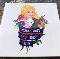 Rhinestones and Trash Sticker