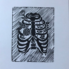 Blooming Ribcage Canvas Patch